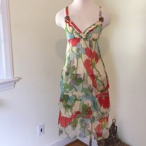 Silk Floral Midi with Tiered Ruffles and Beading